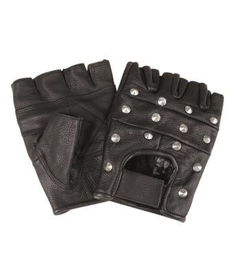 Mil-tec biker rukavice bez prstov s nitmi, čierne